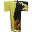 Incredible Vintage Two Tone  Dance Kimono with Gold Painted Waves.