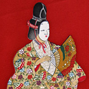 Stunning Vintage  Samurai Noh Player Gilded Silk Kimono