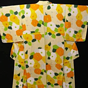 Vibrant Art Deco Pure Silk Floral Kimono c 1925