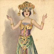 Italian Signed Art Deco Costume Postcard.