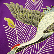 SOLD Stunning Antique Silk Purple 'Crane and Pine Tree' Kimono c1900