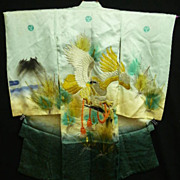 Embroidered Child's Green Silk Kimono with Falcon, Clouds and Gold and Silver Hand Painting.