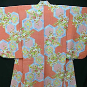 Gorgeous Vintage Pink and Blue Silk Crepe Kimono with Cherry Blossom.