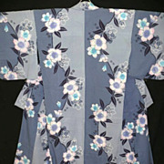 Vintage Cotton Blue and Grey Japanese Yukata Kimono with Peonies.