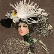 Unique Edwardian Fashion Lady in Feather Hat Postcard 1909