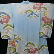 Antique Blue  Silk Furisode Kimono with Gold Embroidery and Hand Painted Details.