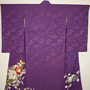 Antique Purple Silk Rinzu Kimono with Floral Garden Pattern c1900