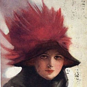 Signed English Fashion Lady in Plumed Hat Postcard 1914
