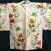 Antique Hand Painted Beige Floral Silk Meissen Haori c1900.