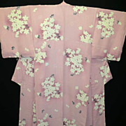 SOLD Vintage Shaded Pink Silk Floral 'Springtime' Kimono.