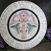 Antique Primitive Folk Art Hand Painted 1877 Religious Scripture Porcelain China Plate