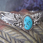 Glorious Vintage Sterling Silver Native American Turquoise Bracelet