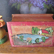Vintage Wood New Mexico Primitive Folk Art Painted Offering Box Miniature Chest