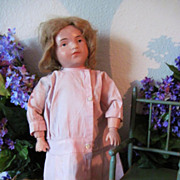 Darling Pink Check Antique Doll Drop Waist Dress Suitable for Schoenhut