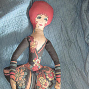 Vintage Huge Mystery Lithographic Print Cotton Cloth Boudoir Flapper Lady Doll