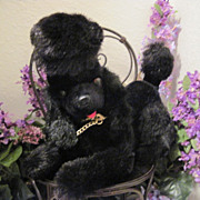 SALE Mid-Century Modern Black Plush Poodle Dog Transistor Radio in Tummy
