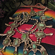 SALE PENDING Substantial Vintage Native American Pawn Silver and Turquoise Squash Blossom Neck