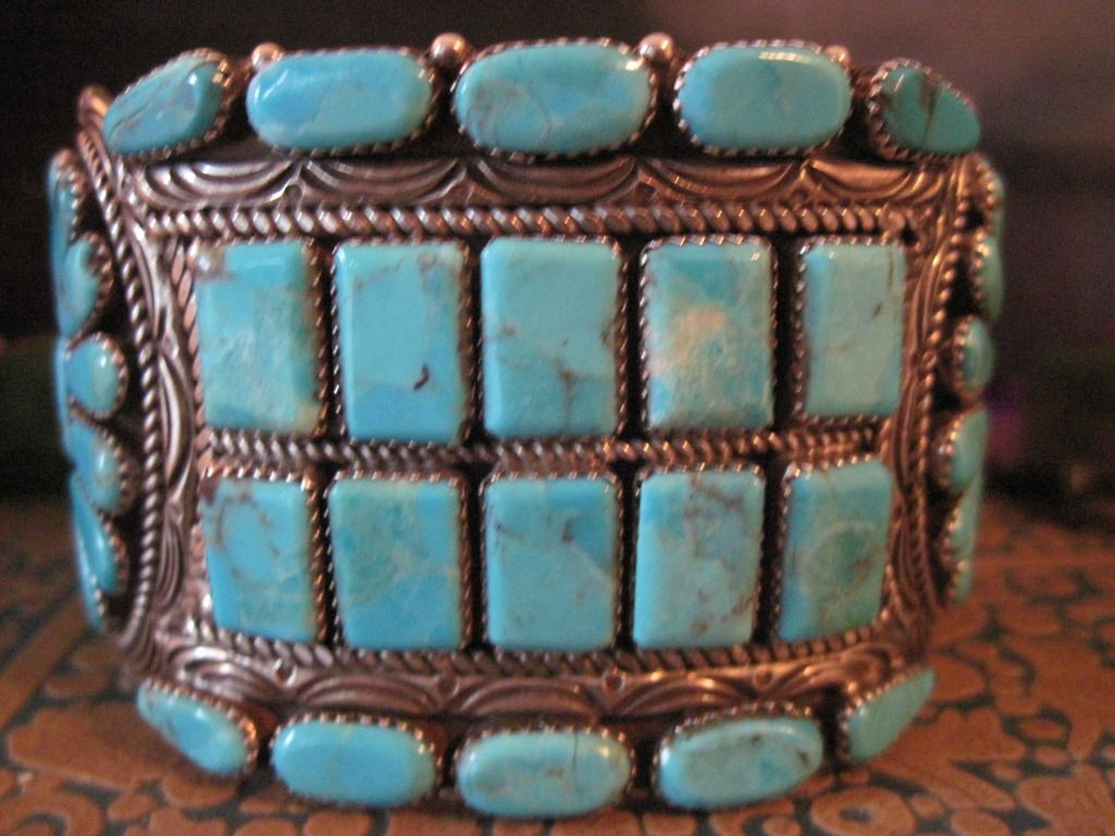 Very Vintage Native American Dead Pawn SIGNED Silver and Turquoise Bracelet
