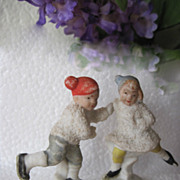 SALE 1920s German Hertwig Skating Snow Baby Children Pair