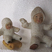 SALE 1920s German Hertwig Snow Baby Doll Pair, One on Sled