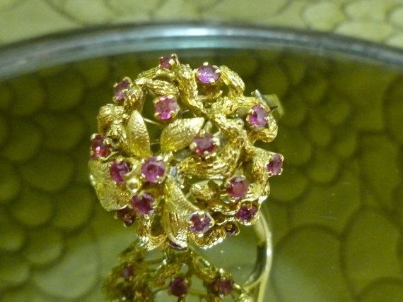 14k Gold and Ruby Ring Old Hollywood Glamour Cocktail Ring