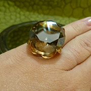 SALE 14k Smokey Quartz Cocktail Ring 30 Carats