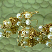 SALE Antique Pearl and Gold Earrings Cannetille 12k