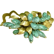 Vintage 14k Gold Carved Jade Brooch Floral Design