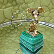 14k Gold Figurine Mouse on Malachite Base