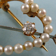 Perfect for your Sweet Heart Pearl and Diamond Brooch 14k Gold