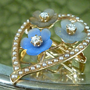 14k gold and diamond Art Nouveau Brooch Pendant Flowers