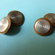 Engine Turned 14k Gold Art Deco Cuff Links