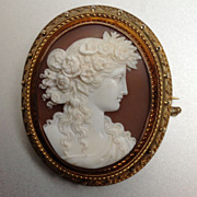 Museum Quality Shell Cameo of Flora
