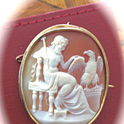 Museum Quality Shell Cameo Brooch of Zeus with Eagle