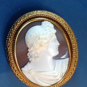 Museum Quality Shell Cameo Brooch/Pendant of Apollo Belvedere in an 18 carat gold mount