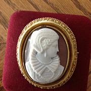 Elegant Museum Quality Shell Portrait Cameo Brooch of Mary Queen of Scots
