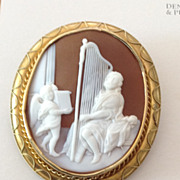 Museum Quality Antique Shell Cameo of King David wih Harp in a Fabulous 18K gold Mount