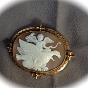 Museum Quality Shell Cameo of Eros in Heaven on Jupiter's Eagle