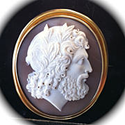 SOLD Fabulous Quality Museum Grade Shell Cameo of Zeus in 18K Gold Mount