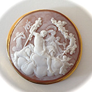 Fresco-Style Italian Shell Cameo of the Triumph of Bacchus in a 14K Gold Mount