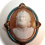 Italian Full-Frontal Cameo Brooch of Zeus in a Magnificent Blue Enamel Mount (15K)