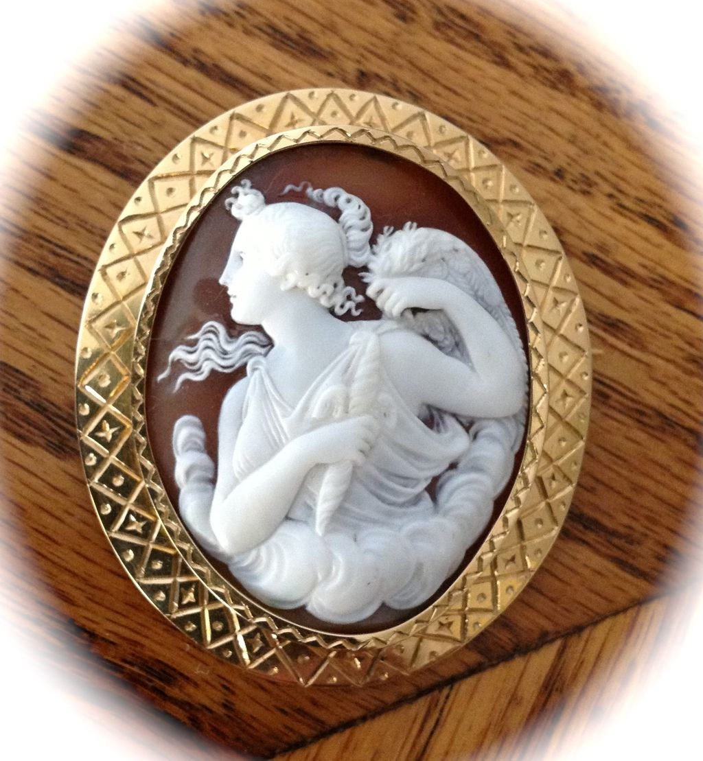 Museum Quality Antique Italian Shell Cameo Brooch of a Muse