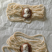 19th Century Italian Cameo and Pearl Bracelets