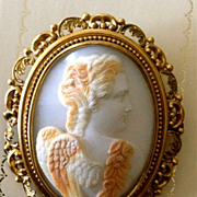 19th Century Horned Helmet Shell Cameo Brooch of Eros Circa 1860