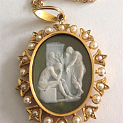 19th Century Cameo Locket Pendant of Achilles Grieving Over the Death of Patroclus