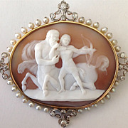 Rare Shell Cameo Brooch of the Centaur Chiron and Achilles
