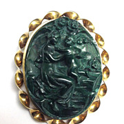 SALE Rare Aphrodite and Eros Malachite Cameo Brooch/Pendant