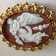SOLD Shell Cameo of Nyx with Two Babies and Night Owl - Red Tag Sale Item