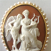 Museum Quality Sardonyx Shell Cameo of Eros and Aphrodite