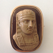 Egyptian Revival Cameo Brooch of a Sphinx